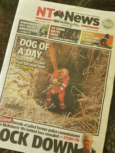 Saving Red the Dog from a Mine Shaft