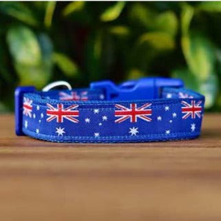 Aussie - Australia Flag Dog Collar - Hand Made by The Bark Side.