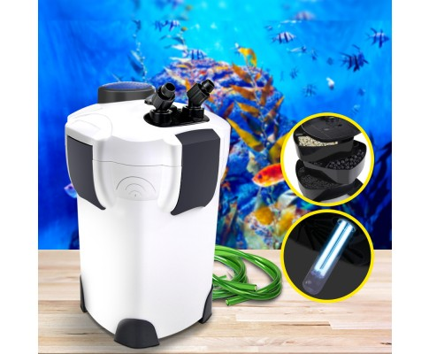 Aquarium External Canister Filter Aqua Fish Tank UV Light with Media Kit 1850L/H