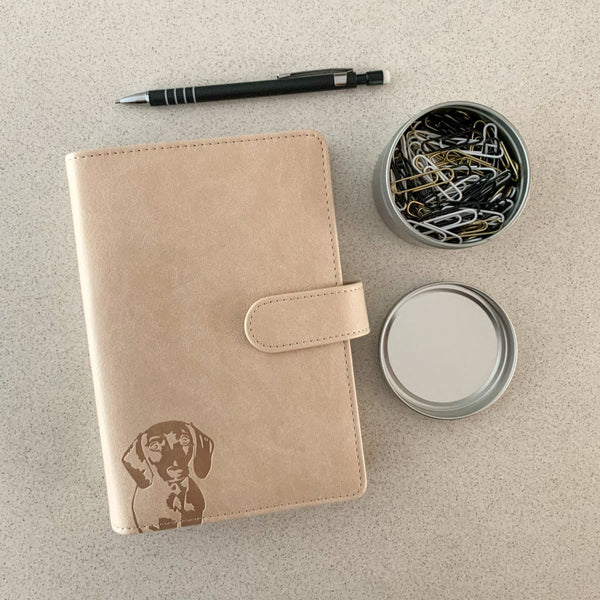 Dachshund Planner – PU Leather Exterior, Metal Loose Leaf Ring Binder, 100gsm Paper