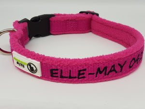 Doggie ID Collar Bamboo Fibre Fleece Padded Personalised Embroidered