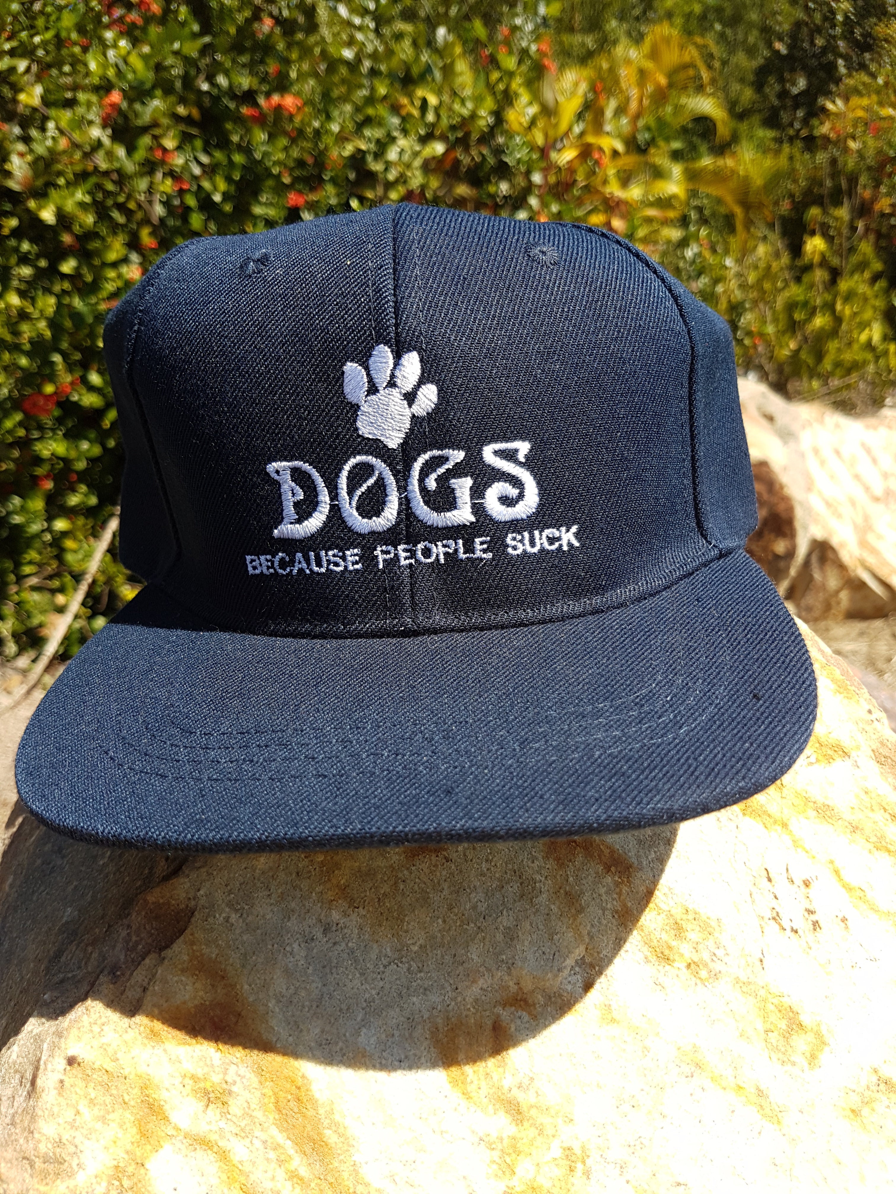 "Caps ""Dogs Because People Suck"" Flat Brim Snapback"