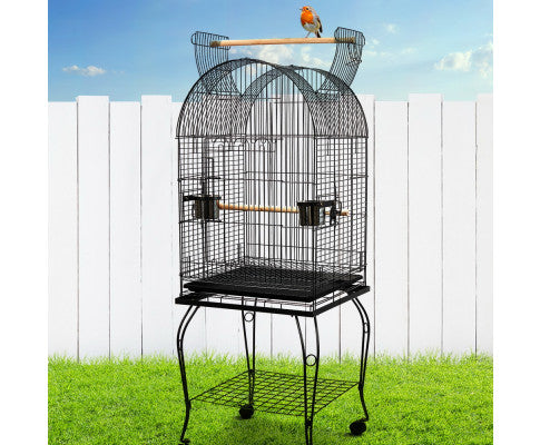 i.Pet Large Parrot Pet Aviary Bird Cage w/Open Roof 150cm Black A100