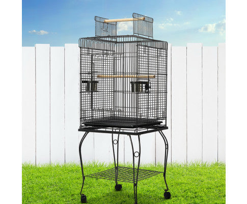 i.Pet Large Parrot Pet Aviary Bird Cage w/Open Roof 150cm Black A102