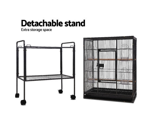 Large Pet Parrot Aviary Bird Cage w/Wheels Stand 160cm Black