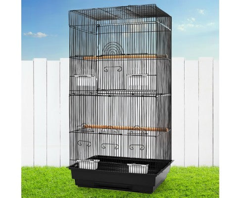 i.Pet Medium Bird Cage with Perch 88cm- Black