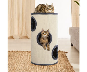 70cm Cat Scratching Tree Post - Grey & White