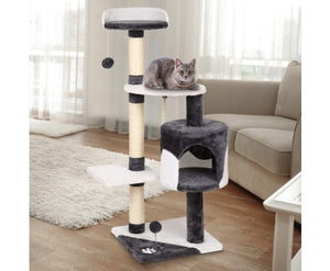 i.Pet Cat Scratcher Pole 112cm- White and Grey
