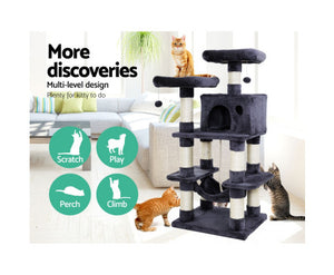 i.Pet Cat Tree Trees Scratching Post Scratcher 145cm Tower Condo House Furniture Wood