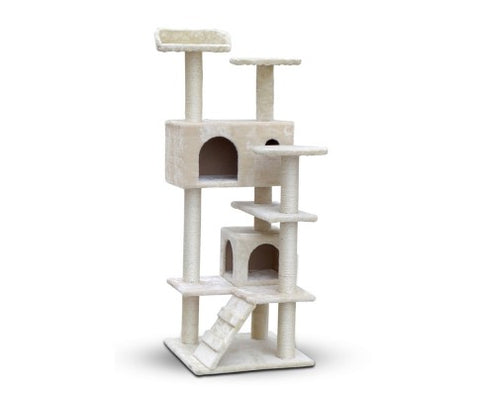134cm Multi Level Cat Scratching Tree Post - Beige