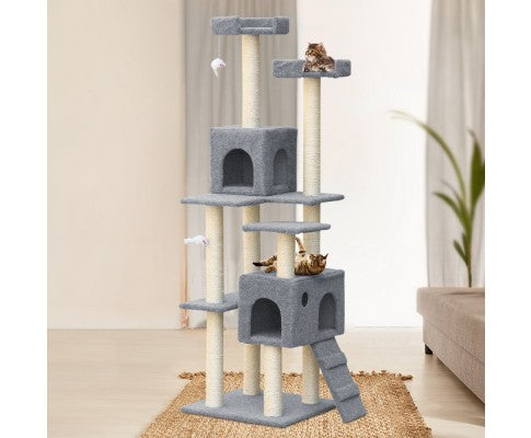 170cm 7 Level Cat Scratching Tree Post - Grey