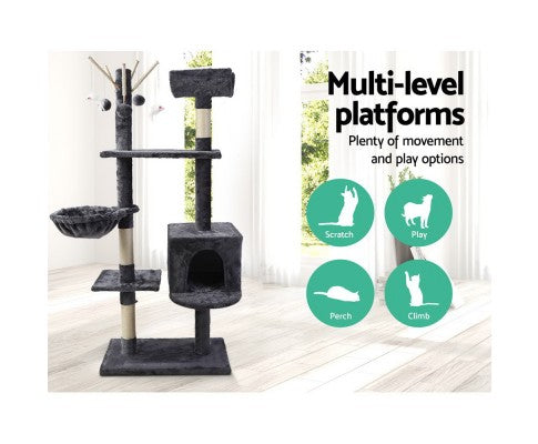 i.Pet Cat Tree Trees Scratching Post Scratcher Toys Condo House Furniture Wood 140cm