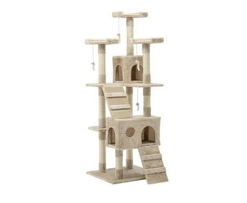 180cm Multi Level Cat Condo Scratching Tree Post - Beige