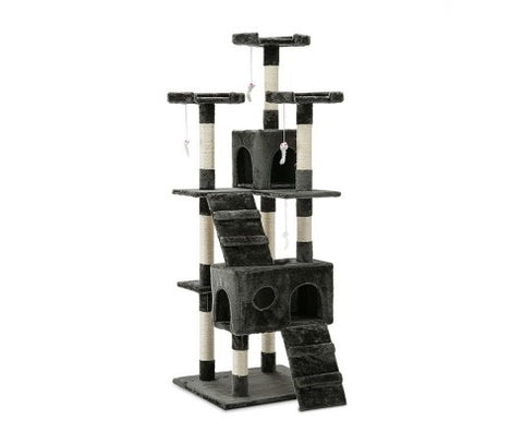 180cm Multi Level Cat Condo Scratching Tree Post - Grey