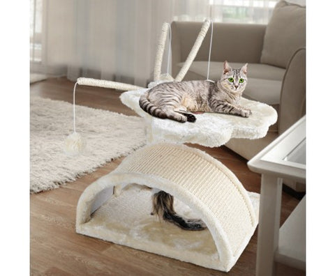i.Pet 45cm Cat Scratching Tree Pole Gym House - Beige