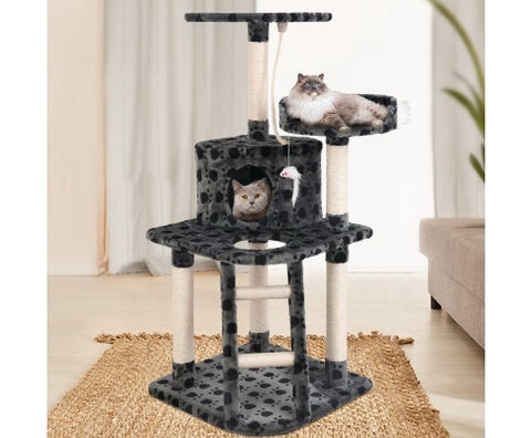 i.Pet 120cm Cat Tree Trees Scratching Post Scratcher Tower Condo House Furniture Wood Grey