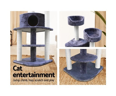 126cm Multi Level Cat Scratching Tree - Grey