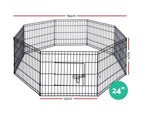 24 Inch 8 Panel Portable Pet Exercise Playpen