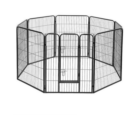 8 Panel Portable Pet Playpen - Black