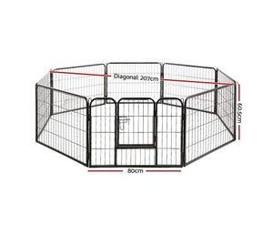 i.Pet 8 Panel Pet Dog Playpen Exercise Enclosure Fence Portable 60cm