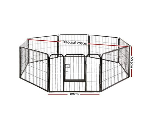 i.Pet 8 Panel Pet Dog Playpen Exercise Enclosure Fence Portable 80cm