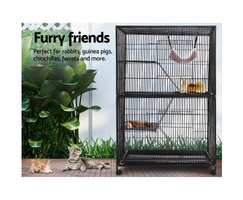 i.Pet 4 Level Rabbit Cage Bird Ferret Parrot Aviary Castor 142cm