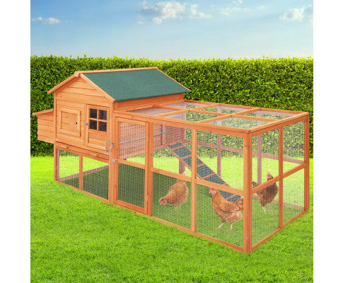 i.Pet Chicken Coop Coops Wooden Rabbit Hutch Hen Chook House Ferret Large Run XL