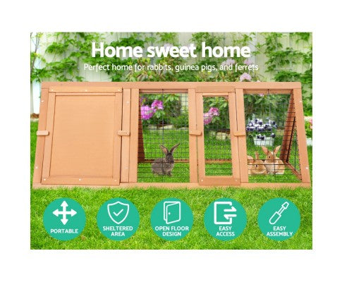 i.Pet Wooden Rabbit Chicken Guinea Pig Hutch Triangle
