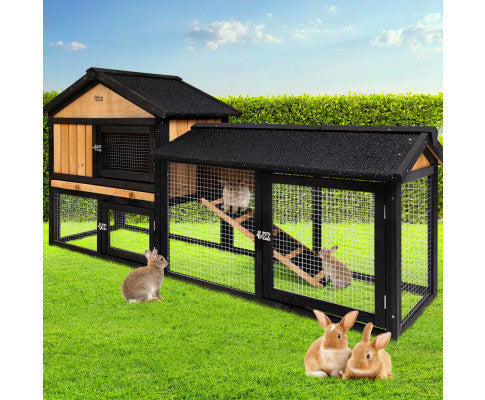 i.Pet Rabbit Hutch Hutches Large Metal Run Wooden Cage Waterproof Outdoor Pet House Chicken Coop Guinea Pig Ferret 165cm x 52cm x 86cm