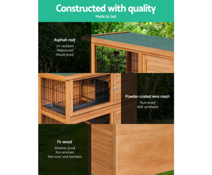 2 Storey Wooden Hutch Coop with Slide Out Tray Foldable Ramp