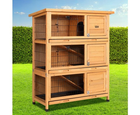 i.Pet Rabbit Hutch Large Metal Run Wooden Cage Waterproof Outdoor Pet Chicken Coop Guinea Pig Ferret 91.5cm x 46cm x 116.5cm