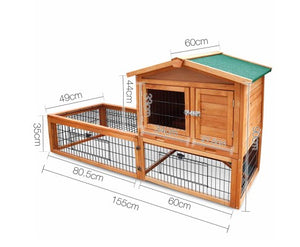 i.Pet Wooden Rabbit Chicken Guinea Pig Hutch with Tray 155cm