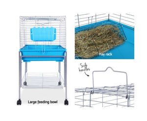 i.Pet 80cm Rabbit Cage Hutch Cages Indoor Hamster Enclosure Carrier Bunny Blue