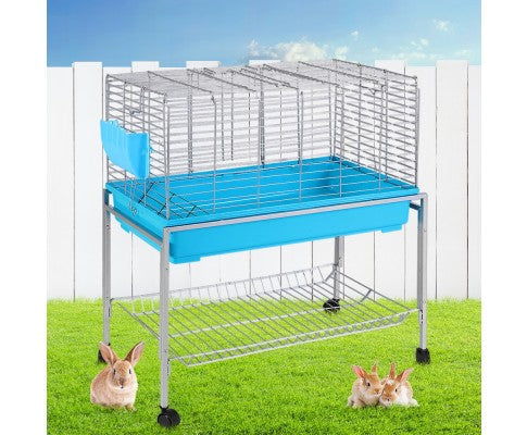 i.Pet 80cm Rabbit Cage Hutch Cages Indoor Enclosure Carrier Bunny Blue