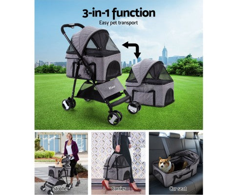i.Pet Pet Stroller Dog Carrier Foldable Pram 3 IN 1 Middle Size