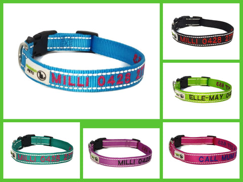 Doggie ID Collar Nylon w/Reflective Stitching Embroidered Personalised Custom.
