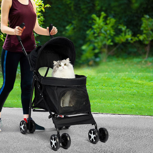 Pet Stroller Dog Cat Pram Foldable Carrier 4 Wheels Large Travel Pushchair Black