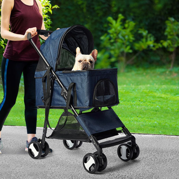 Pet Stroller Dog Cat Pram Foldable Carrier 4 Wheels Large Travel Pushchair Blue