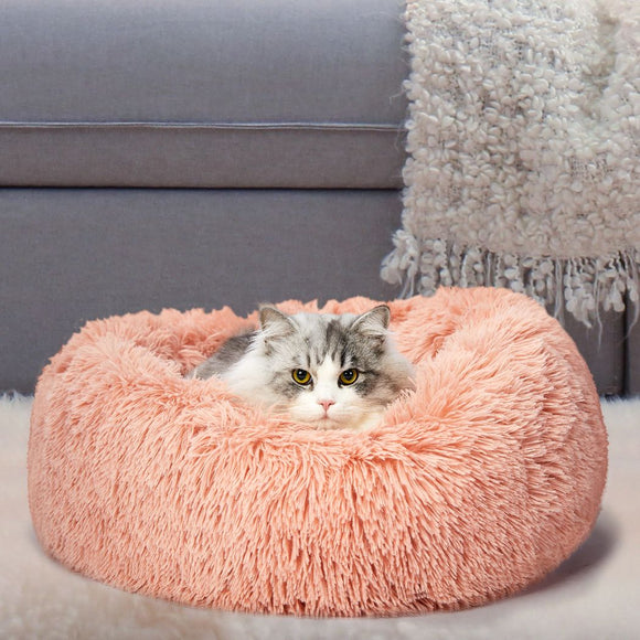 Pet Bed Cat Dog Donut Nest Calming Deep Sleeping Pink