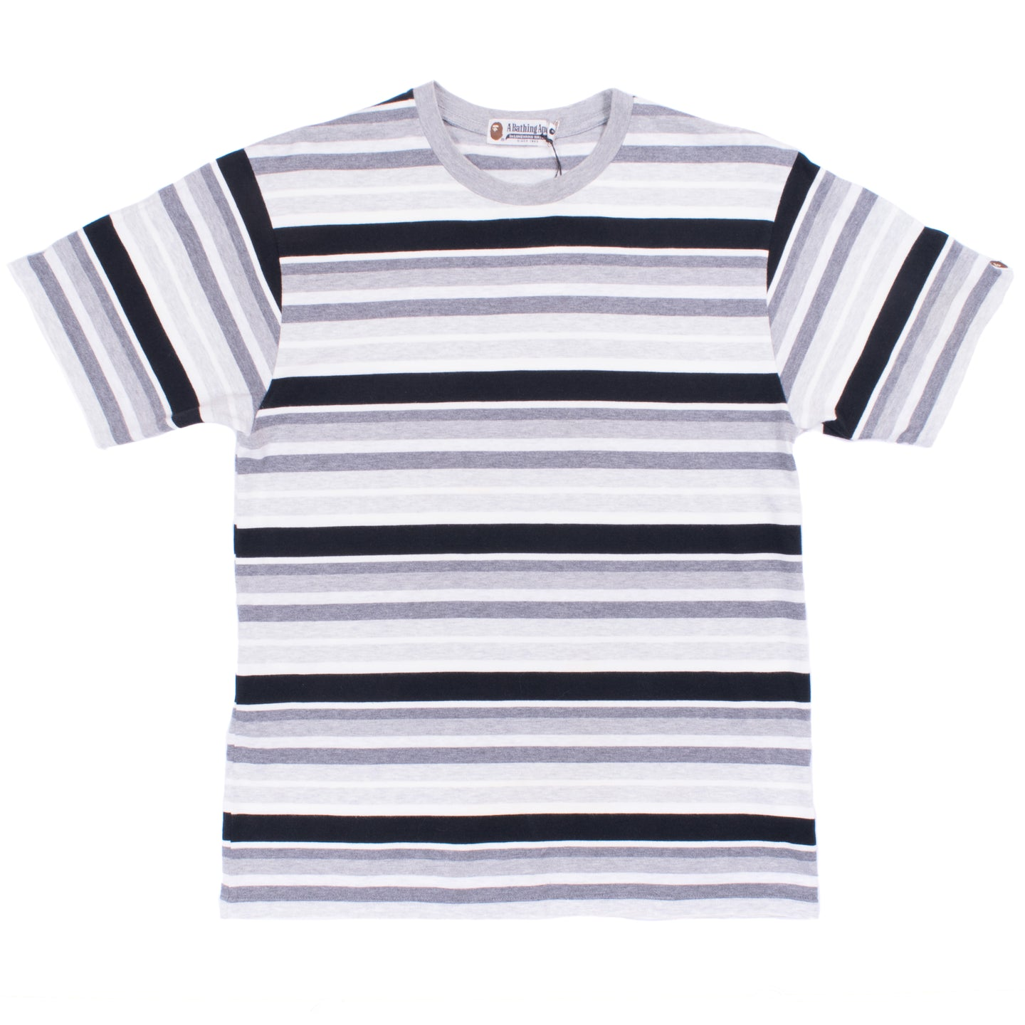 A Bathing Ape Grey Striped T-Shirt
