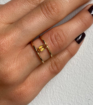 The Gold Citrine Twofold Ring