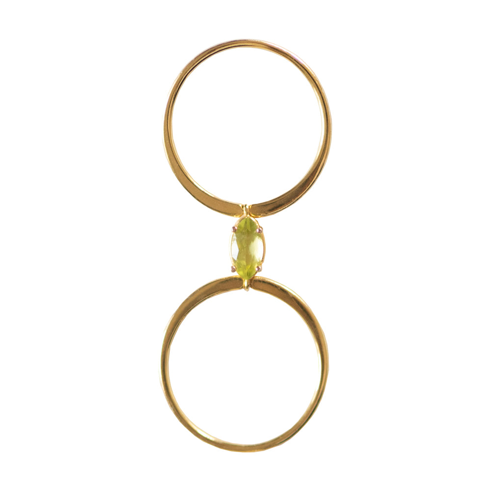 The Gold Peridot Twofold Ring