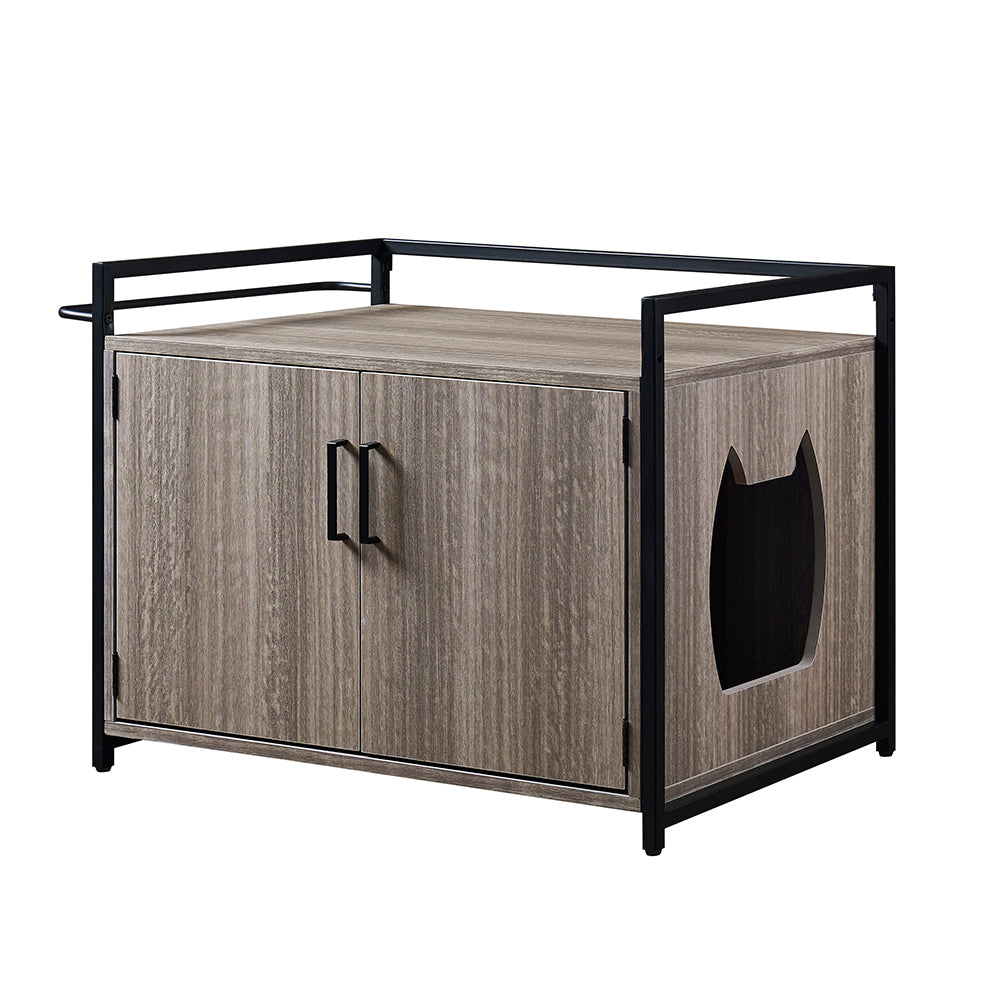 unipaws Cat Litter Box Enclosure, Privacy Cat Washroom Bench, Litter Box Hidden, Pet Crate with Iron and Wood Sturdy Structure, Cat House Nightstand