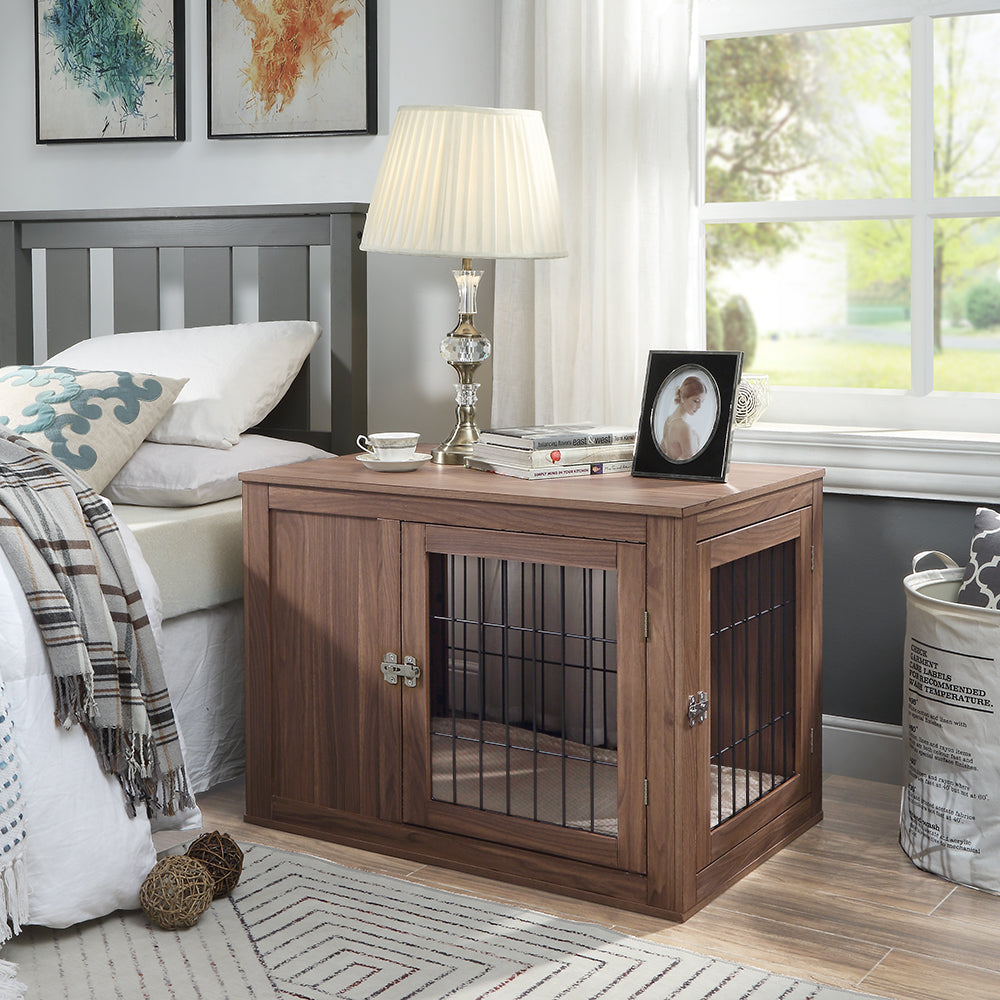 unipaws Dog Crate End Table with Cushion, Wooden Wire Pet Kennels with Double Doors, Modern Design Dog House, Medium Indoor Use, Chew-Proof
