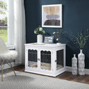 unipaws Pet Crate End Table with Cushion, Wooden Wire Dog Kennels with Double Doors, Modern Design Dog House, Medium and Large Crate Indoor Use, Chew-Proof