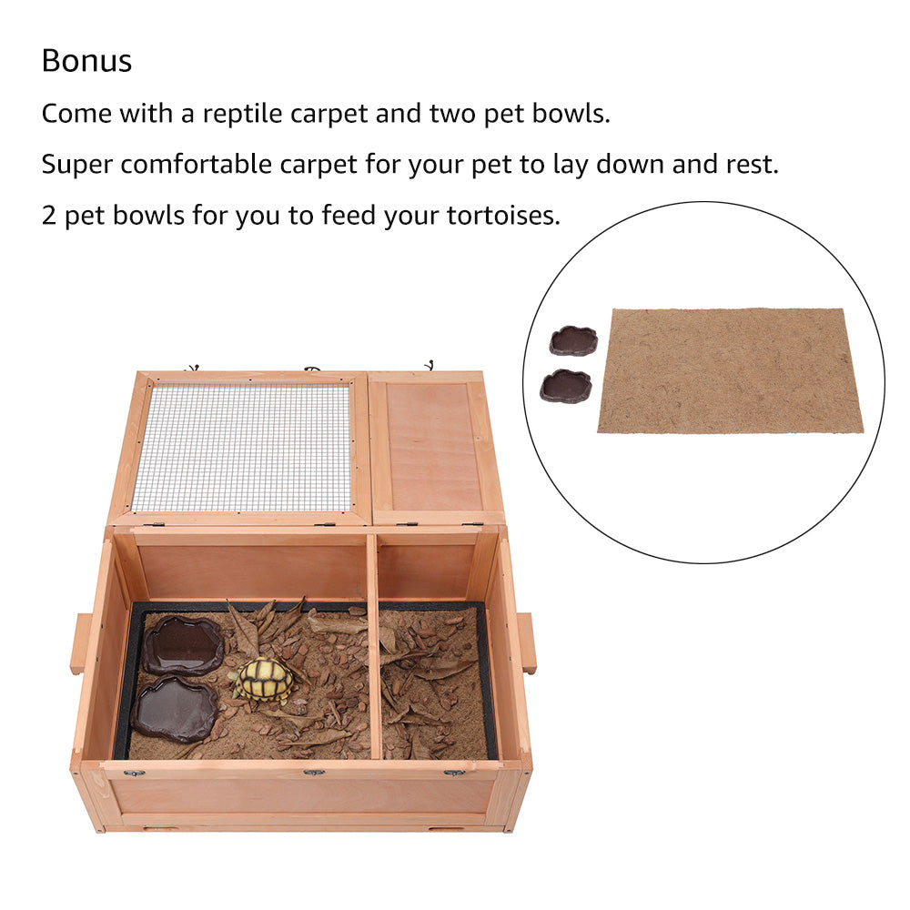 unipaws Tortoise House Starter Kit, The Perfect Kit for Small Animals Includes a Tortoise Enclosure with Tray, Reptile Carpet and 2 Food Bowls, Indoor and Outdoor Habitat, Updated Version