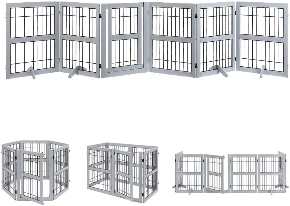 unipaws Pet Playpen with Wood and Wire, 6 Panels Extra Wide Freestanding Walk Through Dog Gate with 4 Support Feet, Foldable Stairs Barrier Pet Exercise Pen for Dogs Cats