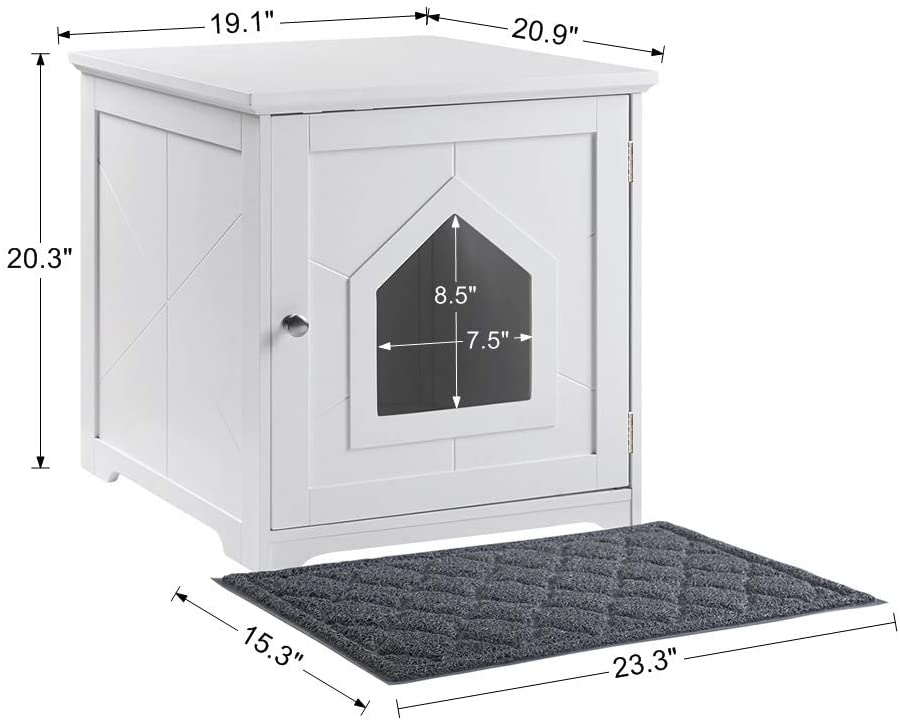 unipaws Cat Litter Box Enclosure with Mat, Privacy Cat Washroom, Litter Box Hidden, Pet Crate with Sturdy Wooden Structure, Cat House Nightstand