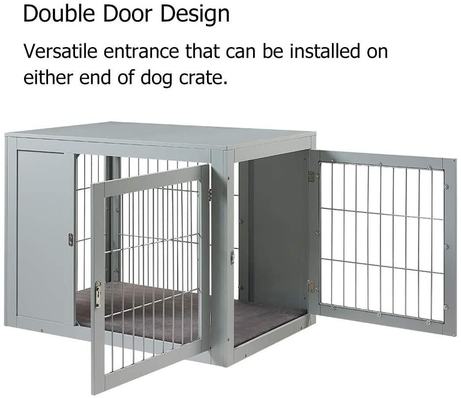 Unipaws Modern Design Dog Crate End Table with Cushion Indoor Use, Chew-Proof, Gray
