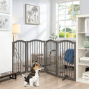 Unipaws Arched Décor Freestanding Pet Gate with 2pcs Support Feet Gray